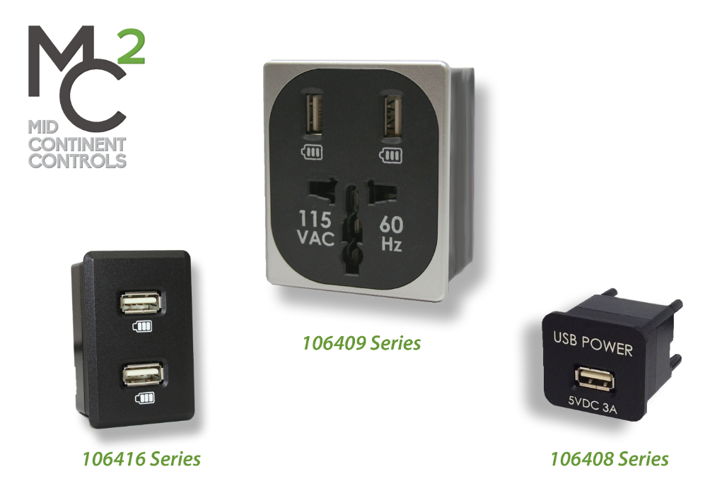 Mid Continent Controls Announces FAA TSO-C71 Approval for 106408 Series Single USB Charger, 106416 Series Dual USB Charger, & 106409 Series Combination Outlet